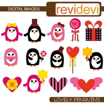 Valentine clipart: Clip art Lovely Penguins