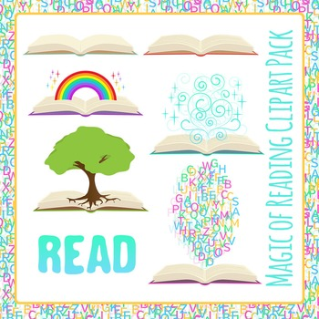 Books! Magic of Reading - Coming Out of Books Clip Art Pac