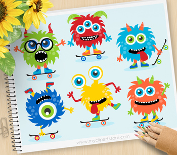 Clipart - Monster Skaters