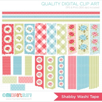 Clipart - Mother's Day / Shabby Chic Washi Tape / Roses