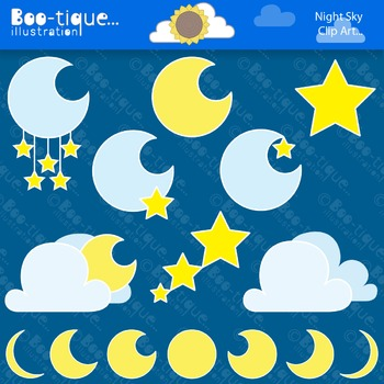 Clipart- Night Sky Clipart. Moon and Stars Clipart. Moons