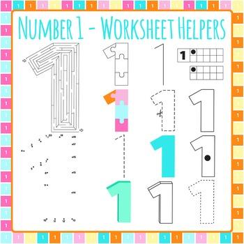 Number 1 Worksheet Helper Clip Art Set for Commercial Use