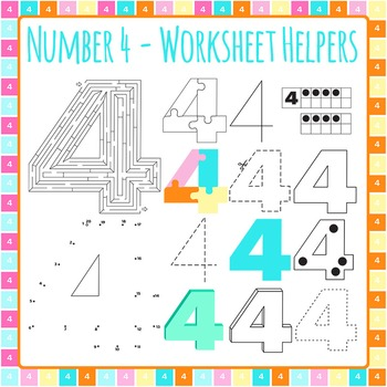 Number 4 Worksheet Helper Clip Art Set for Commercial Use