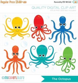 Clipart - Octopus / Octopi / Surf / Ocean / Deep Sea