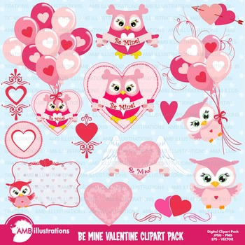 Clipart, Owl clipart, Valentines Clipart, Hearts clipart,