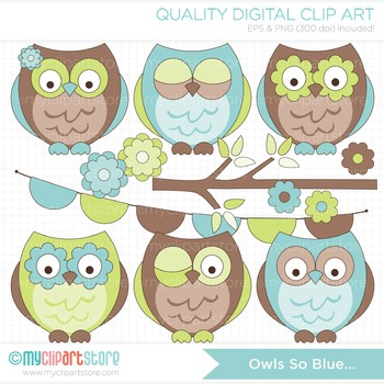 Clipart - Owls so Blue (Blue and Brown)