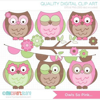 Clipart - Owls so Pink (Pink and Brown)