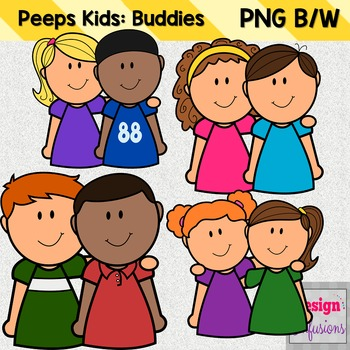Clipart Peep Kids: Buddies