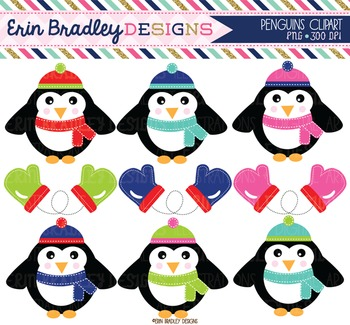 Clipart - Penguins and Mittens Childrens Digital Graphics Set