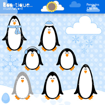 Clipart- Penguins and Snowflakes Clipart. Winter Clip Art.