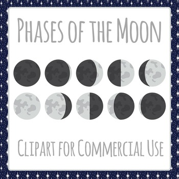 Phases of the Moon or Moon Cycles Clip Art Pack for Commer