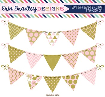 Clipart - Pink and Gold Bunting Banner Flags Instant Downl