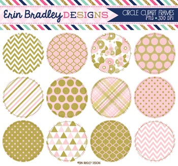 Clipart - Pink and Gold Circles Circles Digital Frames Graphics