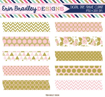 Clipart Pink and Gold Digital Tape Frame Clip Art Graphics