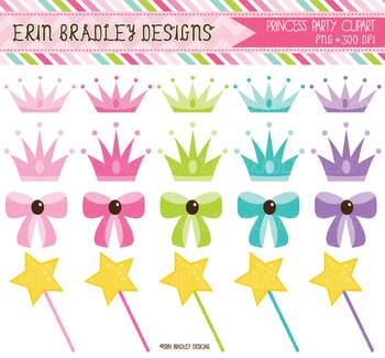 Clipart - Princess Crowns Bows and Wands