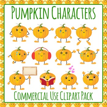 Pumpkin Characters Clip Art Set for Commercial Use