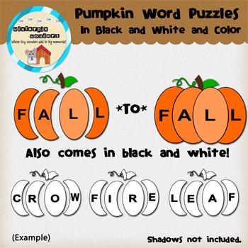 Clipart: Pumpkin Word Puzzle! reading tool - fall - pumpkin
