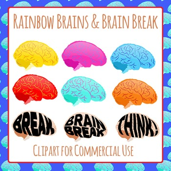 Brain Break and Brains in Rainbow Colors Clip Art Pack for