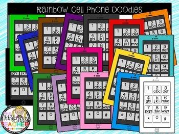 Clipart - Rainbow Cell Phone Doodles
