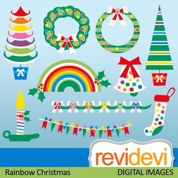 Clipart Rainbow Christmas (trees, banners, wreath) xmas cl