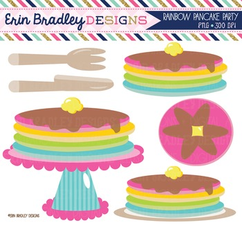 Clipart - Rainbow Pancakes Party
