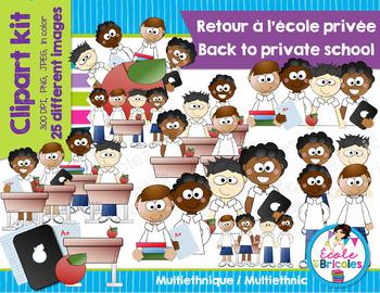 Clipart-Retour école privée (garçons ethnies)/Back private