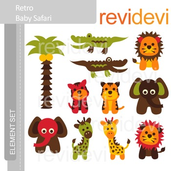 Animals clip art: cute wild animals clipart, Retro Baby Safari