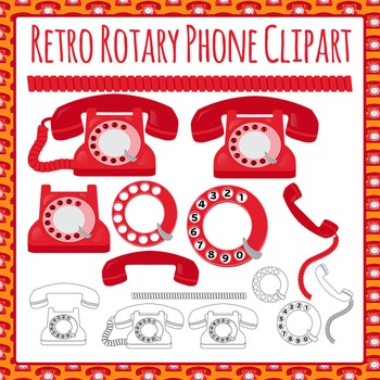 Phone (Vintage / antique / rotary) Clip Art Pack for Comme