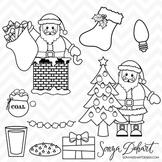 Clipart - Santa Clause and Christmas Clip Art Black Line Art