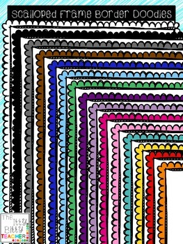 Clipart - Scalloped Page Border Frame Doodles - With White Fill