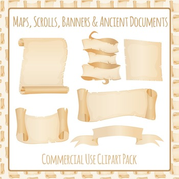 Scrolls, Banner, Map or Ancient Document Clip Art Pack Com