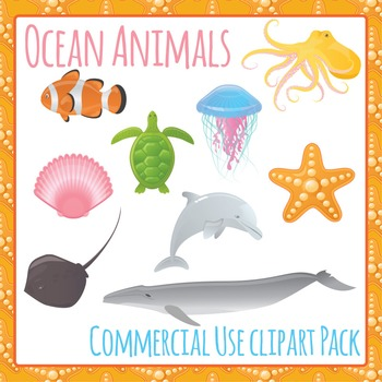 Sea Animals Clipart - Commercial Use Clipart Pack