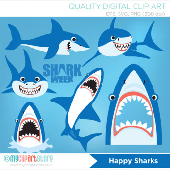 Clipart - Sharks / Surf / Deep Sea