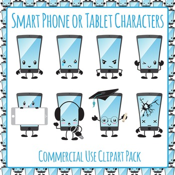 Smart Phone Characters Clip Art Pack for Commercial Use