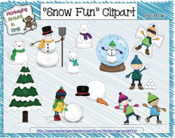 Snow-themed Clipart images {January}