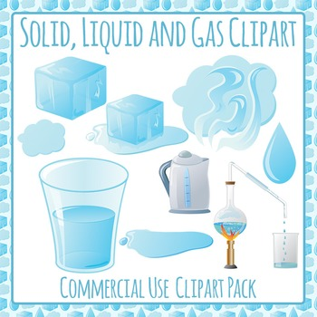 Solid, Liquid and Gas (States of Matter) Clip Art for Comm