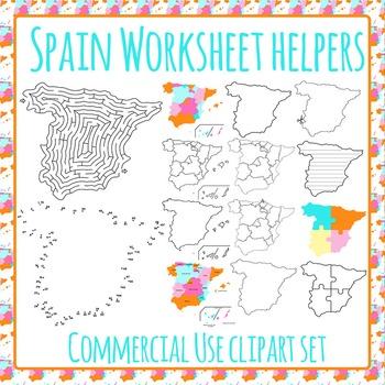 Spain Worksheet Helpers Clip Art Pack for Commercial Use
