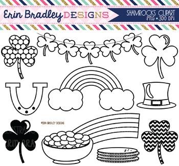 Clipart - St Patricks Day Shamrocks - Black and White