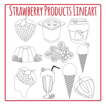 Strawberries and Strawberry Products Black and White LineartPack