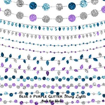 Clip Art - String Lights Blue and Purple Glitter