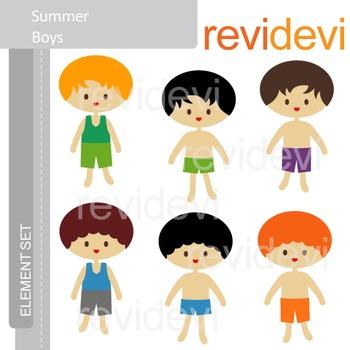Clipart Summer Boys - Clip art E066