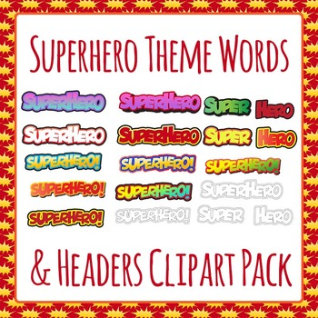 Superhero Words and Headers Clip Art Pack for Commercial Use