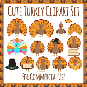 Thanksgiving Turkey Clip Art Pack for Commercial Use