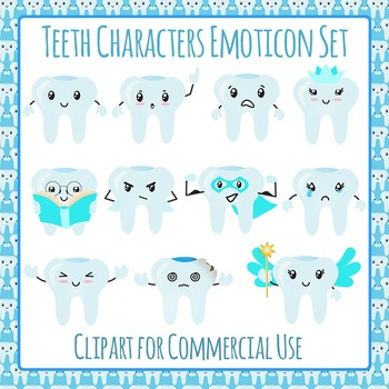 Tooth Character Emoticon Clip Art Set for Commercial Use