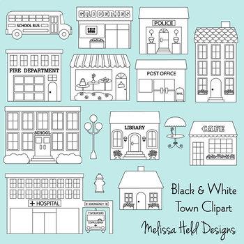 Clipart: Town Buildings Black Outline Color In  Clip Art