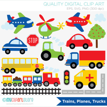 Clipart - Transportation - Trains Planes and Trucks (Prima