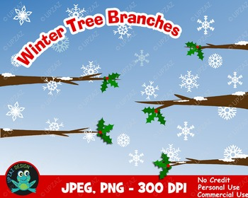 Winter Tree Branches {Upzaz Digital Clipart}