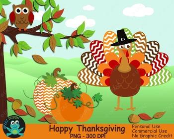 Thanksgiving Turkey, Owl, Pumpkins (Upzaz Digital Clipart)