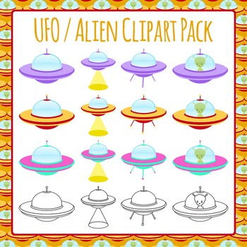 UFO / Flying Saucer Clip Art Pack for Commercial Use