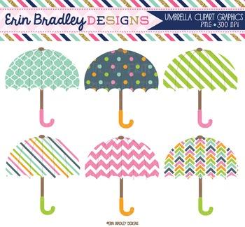 Clipart - Umbrellas Weather Digital Graphics in Pink Green